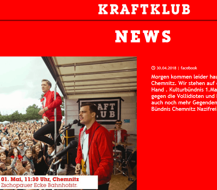 Screenshot von www.kraftklub.to